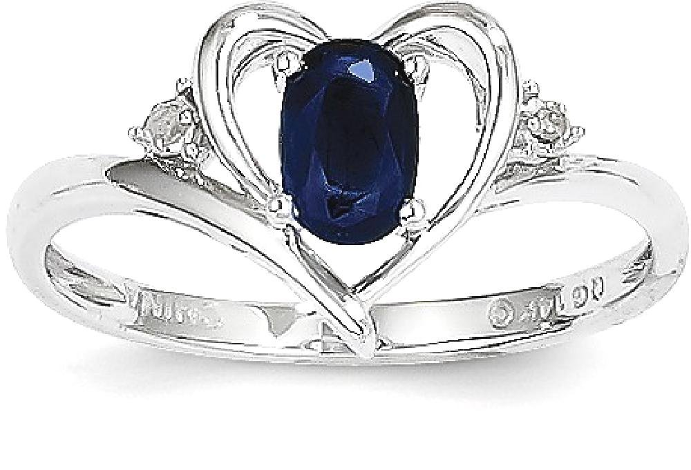 ICE CARATS 14k White Gold Sapphire Diamond Band Ring Size 7.00 Stone Birthstone September Set Style Fine Jewelry Gift Set For Women Heart by ICE CARATS