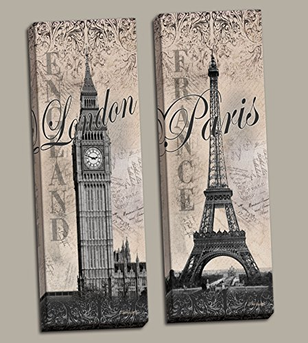 2 Paris Eiffel Tower and London Big Ben Travel International Style Fashion; Two hand-stretched 6x18in canvases, Ready to (Big Ben Travel)