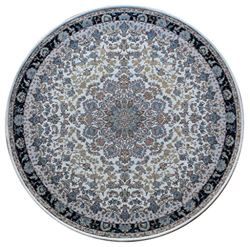 Masada Rugs Traditional Floral Round Area Rug, Non Slip Backing, Washable (4 Feet X 4 Feet) (Non Slip Backing)