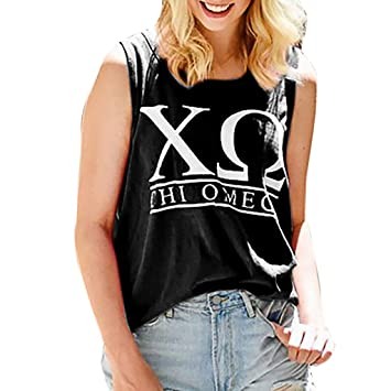 0142a391af8db9 Amazon.com : NUWFOR Fashion Womens O-Neck Letter Printing Sleeveless Vest  Blouse Loose Shirt Tops(Black, XXXXXL US (20-22)) : Beauty