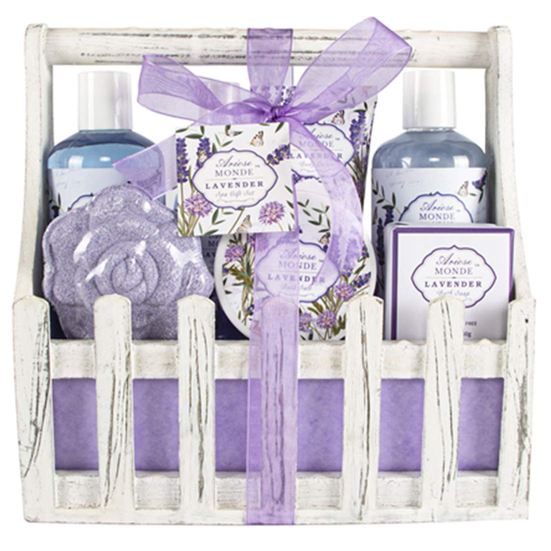 Bath Spa Basket Gift Set, with Lavender & Jasmine Scent, Home Spa Gift Basket Kits for Women, Includes Body Lotion, Shower Gel, Bath Salts, Bubble Bath, Body Mist, Bath Soap, Bath Bomb, 8 PCS