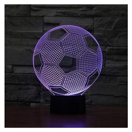 lunaoo Luz Nocturna Infantil, Lampara Escritorio Lampara 3D Fútbol LED, Lámpara de Mesa 7 Colores Diferentes Luz De Noche Regalos Cumpleaños Niños
