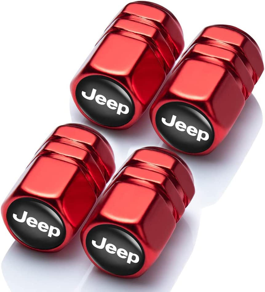 N//A 4 Pcs Metal Car Wheel Tire Valve Stem Caps Suit for Jeep Styling Decoration Accessories