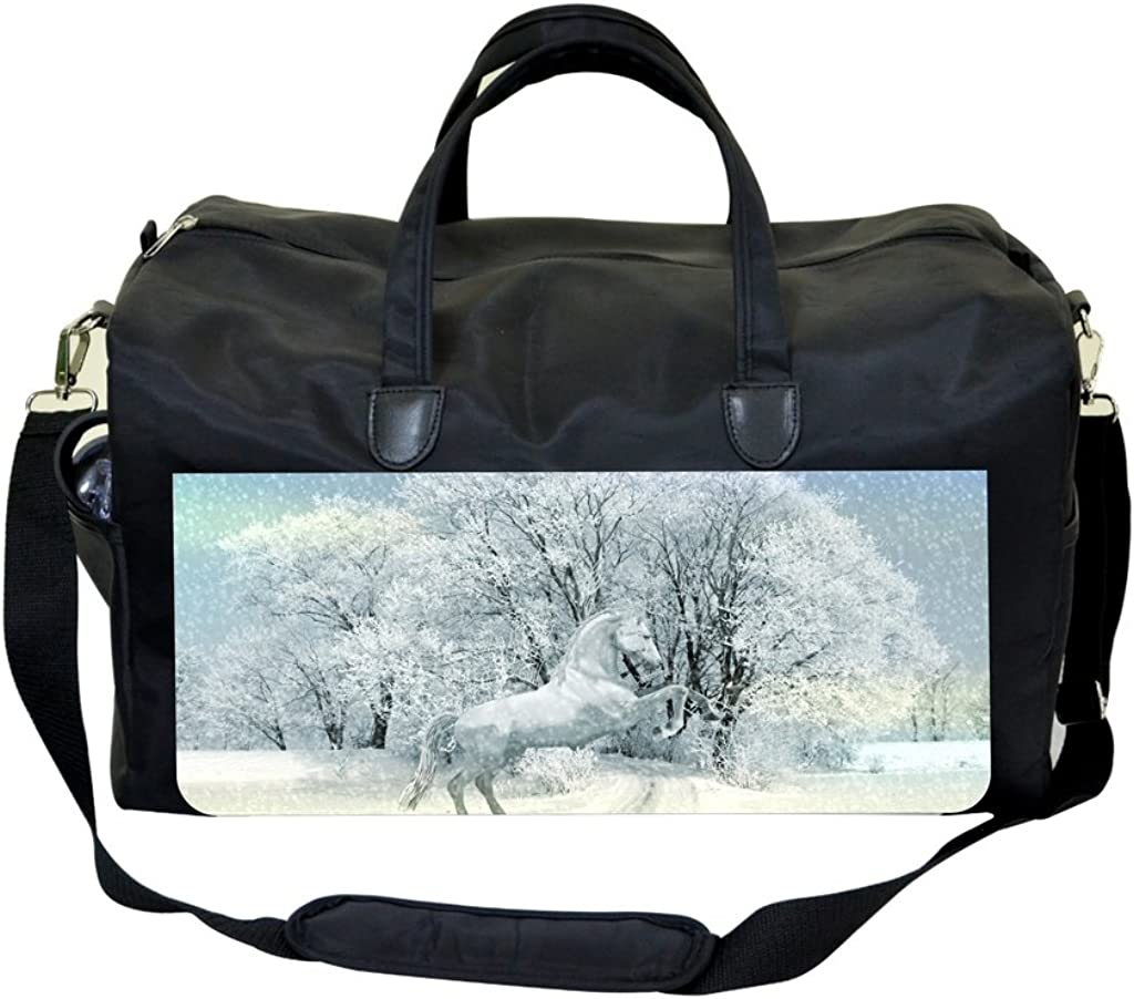 Horse in the Snow PU Leather and Suede Sports Bag