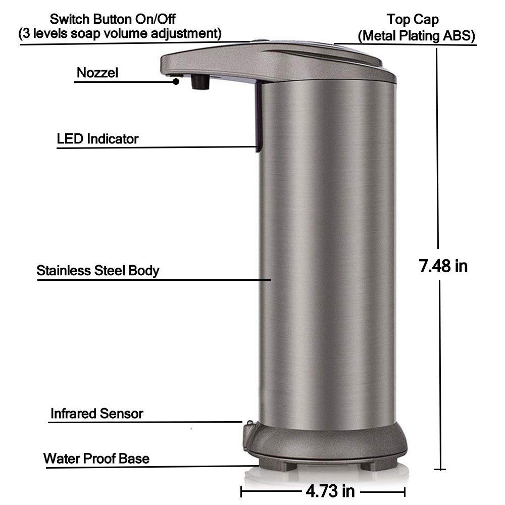 BROMOSE Automatic Soap Dispenser 280ML Stainless Steel Touchless Hand Free Motion Sensor Lotion Dispenser with Waterproof Base for Kitchen Bathroom Office Restaurant Hotel (Champagne)