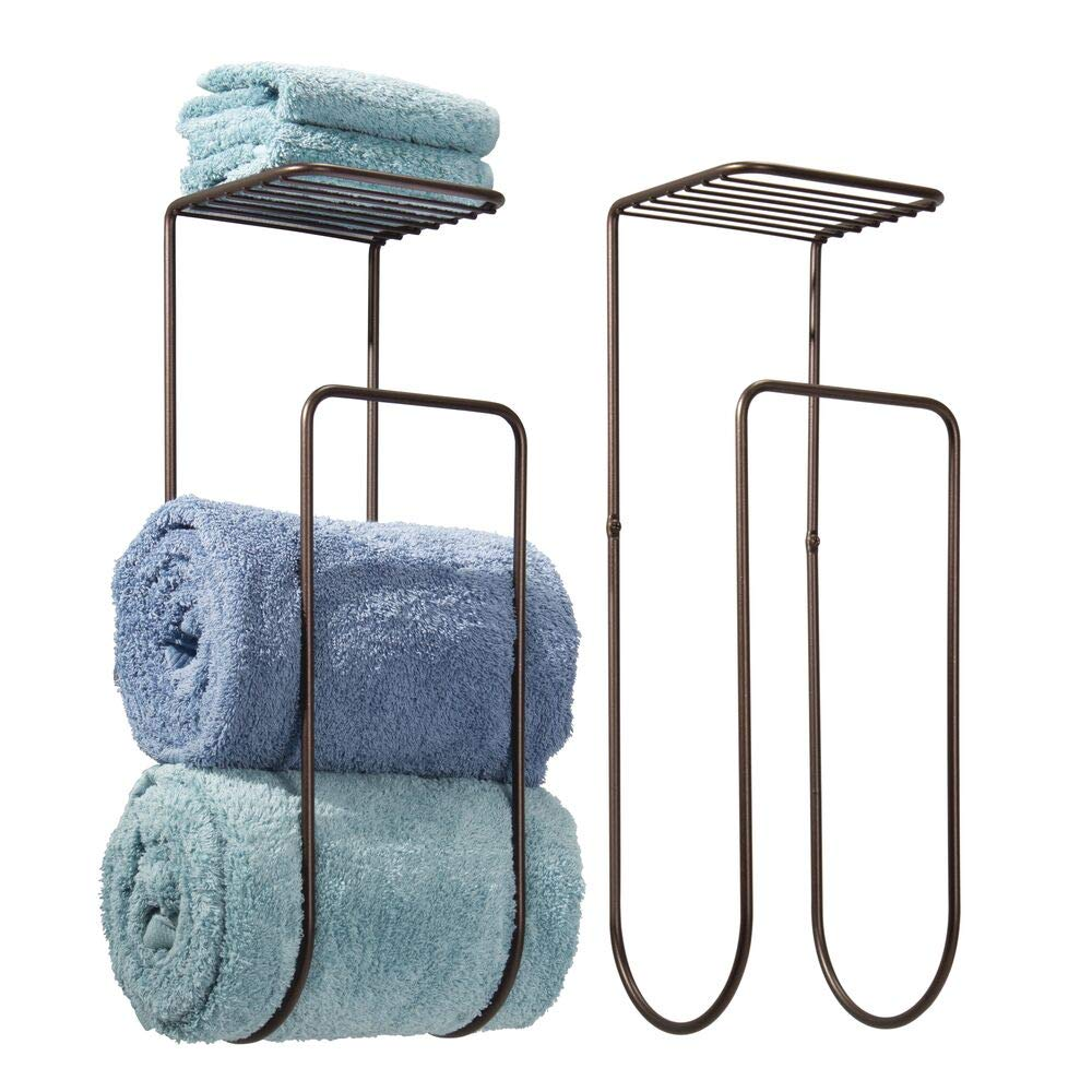 mDesign Modern Metal Wall Mount Towel Rack Holder and Organizer with Storage Shelf for Bathroom Organizing of Washcloths, Hand/Face or Bath Towels, Beach Towels - 2 Pack - Bronze