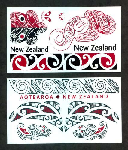 Maori Red & Black Temporary Tattoos / Set of 13 by Ruksikhao
