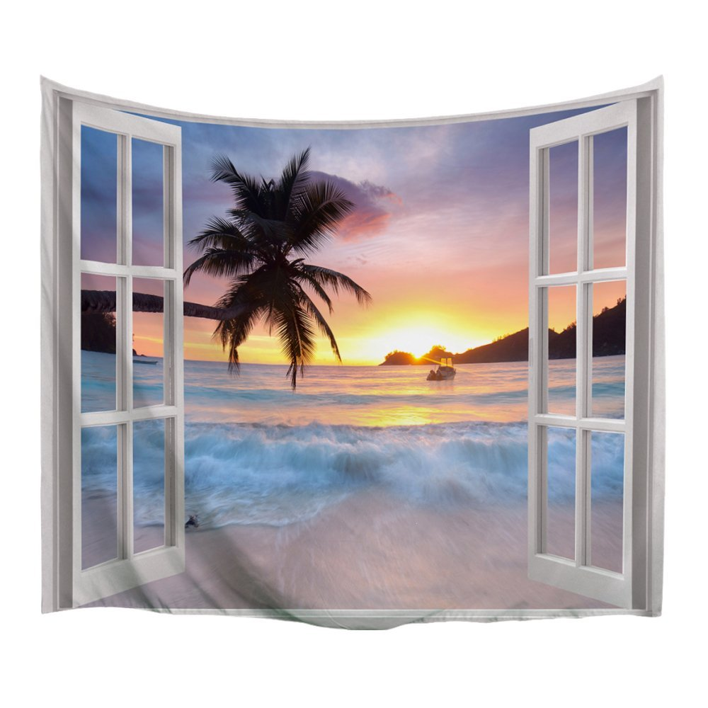 XINYI Home Wall Hanging Nature Art Polyester Fabric Sea Beach Theme Tapestry, Wall Decor For Dorm Room, Bedroom, Living Room, Nail Included - 60'' W x 51'' H (150cmx130cm) - Waves Out Of Window