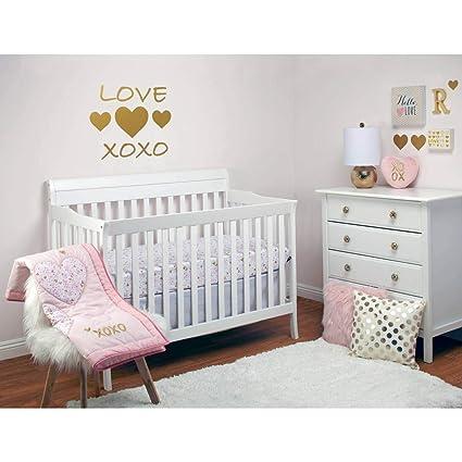 4 Piece Pink White Gold Baby Girls XOXO Crib Bedding Set, Heart Themed  Newborn Nursery