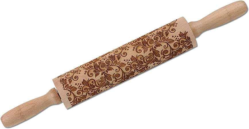 385 Embossing Rolling Pin for Christmas,3D Flower Pattern Wooden Roll Pin Laser Engraved Rolling Pin DIY Tool,Rolling Pin for Baking Cookies Biscuit Fondant Cake Dough Clay