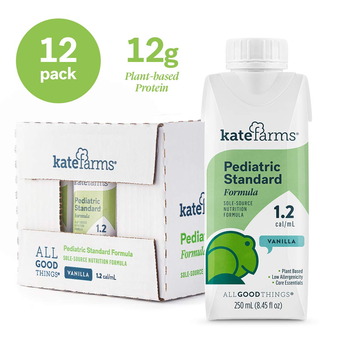 Kate Farms Pediatric Standard 1.2 Vanilla Formula Drink, Organic Plant-Based Protein, Essential Vitamins, Ready To Use Complete Nutrition for Oral and Tube Fed, 8 Fluid Ounces (Case of 12) by Kate Farms