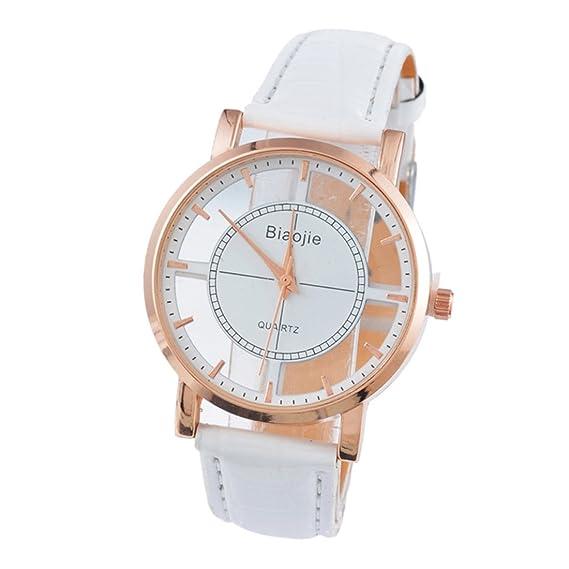duseng Reloj de pulsera para mujer analógico con caja registradora rontonda de oro rosa reloj pulsera Hollow analógica Bianco: Amazon.es: Relojes