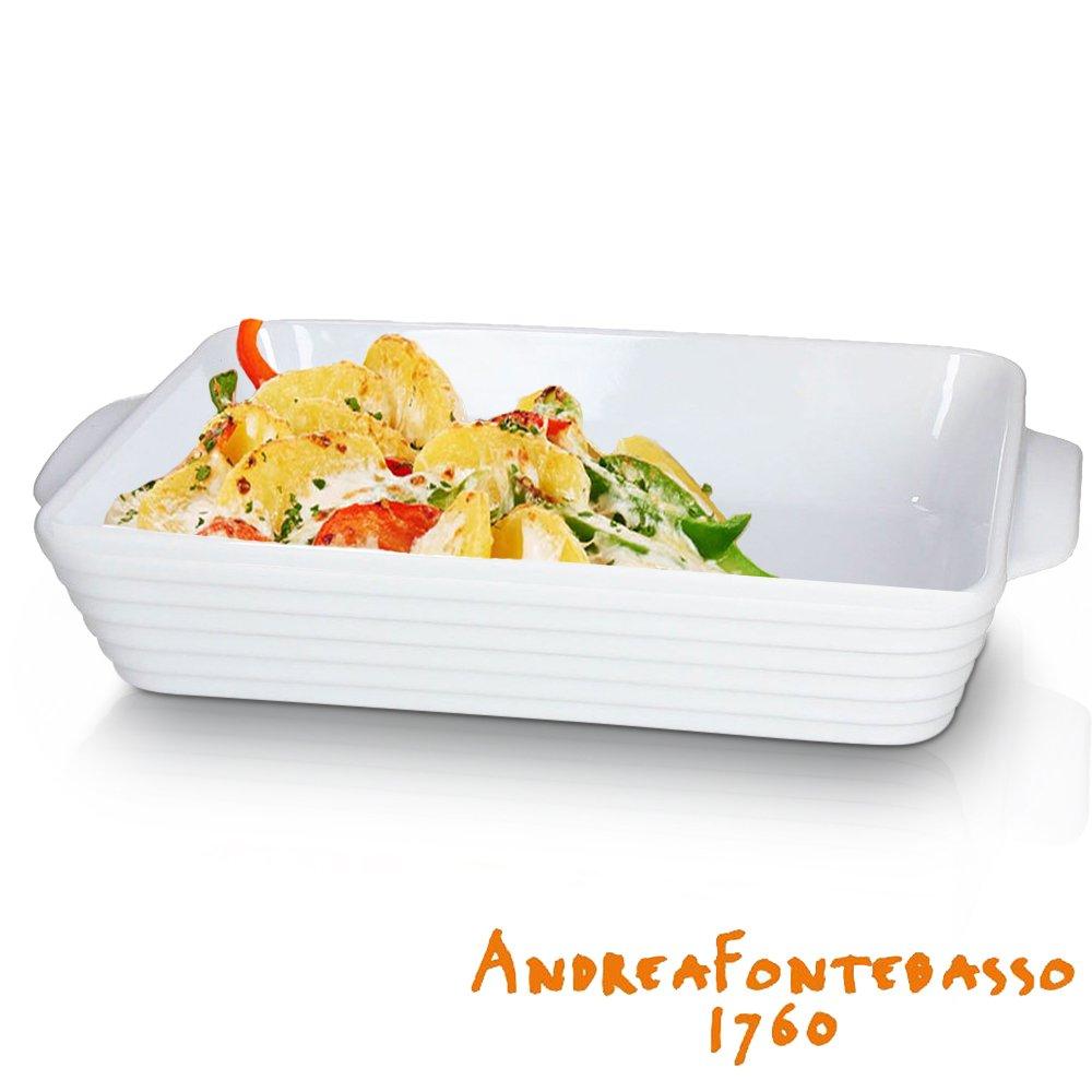 ANDREA FONTEBASSO Auflaufform - 37 x 24 cm - Hochwertiges Porzellan - Geeignet für Mikrowelle, Ofen und Spülmaschine - Ergonomische Griffe