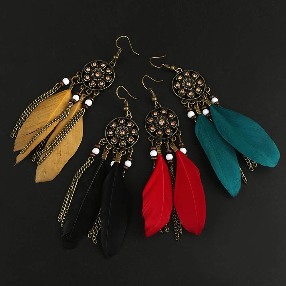 4 Colores SUDADY-Accesorios Pendientes Largos con Flecos Aretes de Moda Retro Estilo /étnico atrapasue/ños Plumas Damas Pendientes Moda de la Personalidad Pendientes para ni/ñas y Mujeres