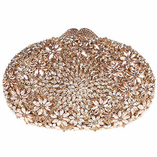 Fawziya Floral Egg Shape Crystal Clutch Purse Party Clutches Online-Smoky - Sale Uk One Day