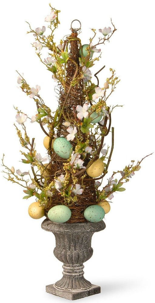 Potted Easter Tree Urn Base Vase Holiday Easter Decorations Flowers Swirl Branch by Unknown
