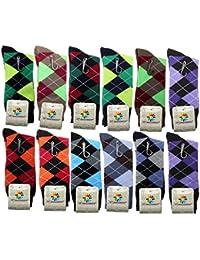 USBingoshopTM calcetines de algodón, de vestir, para hombre (12 unidades).
