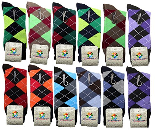 Lords Mens Cotton Dress Socks (12 Pack) (10-13, Argyle-2)