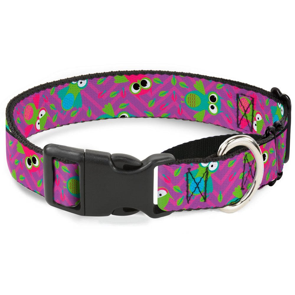 Buckle-Down Flying Owls with Leaves Purple Multi color Martingale Dog Collar, 1  Wide-Fits 9-15  Neck-Small