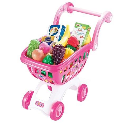 Tosbess Carrito Supermercado Juguete Carrito de la Compra Infantil Incluye Variedad de 38 Productos de Mercado