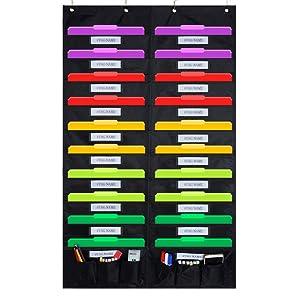 Godery Door Hanging File Organizer/Folder Pocket Chart, 20 Pocket + 6 Tool Pocket Cascading Wall Organizer, Perfect for Home Organizer, School Pocket Chart, Office Bill Filing Wall or Over Door Mount