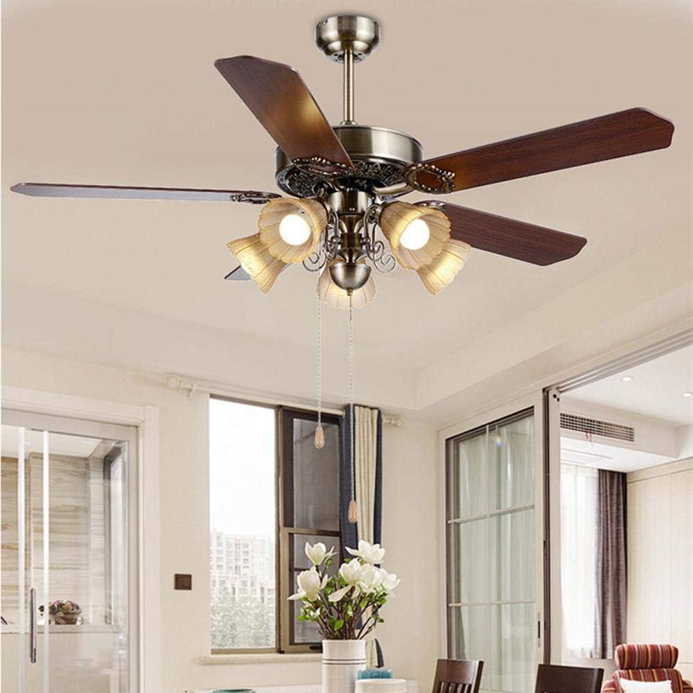 Luz de ventilador Luz de ventilador de techo Dormitorio de madera vintage europeo Sala de estar Control remoto Loft industrial Ventilador de techo Bar Cafe Accesorios de iluminación decorativa
