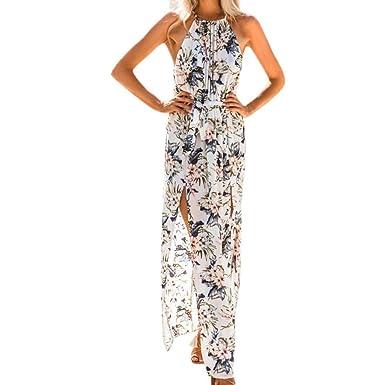 59149850629 Décontracté Femme Robe - Femme Été Imprimer Boho Longue Maxi Robe de Soirée  de Plage Robe