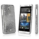 HTC Desire 610 Case, BoxWave® [Glamour & Glitz Case] Slim, Snap-On Glitter Cover for HTC Desire 610 - Silver Sparkles