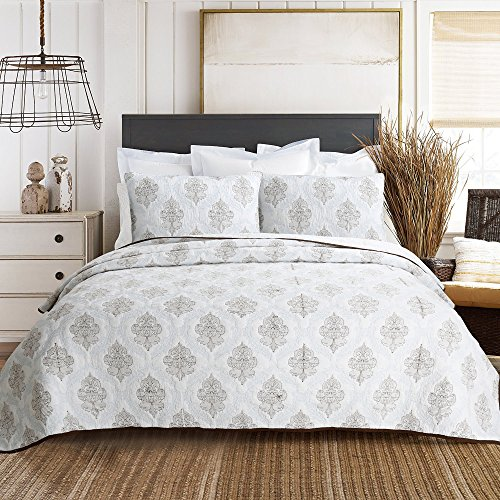 Cozy Line Home Fashions 100% COTTON Baroque Embroidered Medallion White Light Blue Brown Bedding Quilt Set, Coverlet, Bedspread For Bedroom Guestroom (Elizabeth - Embossing B, Queen - 3 piece) (Bedding Blue And White Queen)