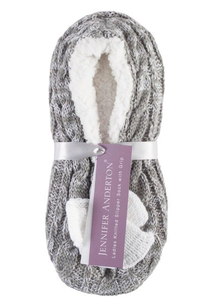 Jennifer Anderton - Womens Knit Faux Fur Non Skid Slipper Socks With Grippers (7-9 US, Grey)