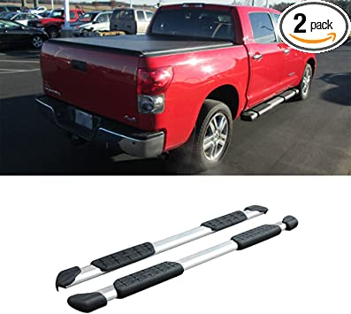 """05-18 Toyota Tacoma Crew Cab 5/"""" Chrome Pads Running Side Step Boards Nerf Bars"""