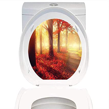 Amazon com: Decoration Bathroom toilet cover Sticker Fall
