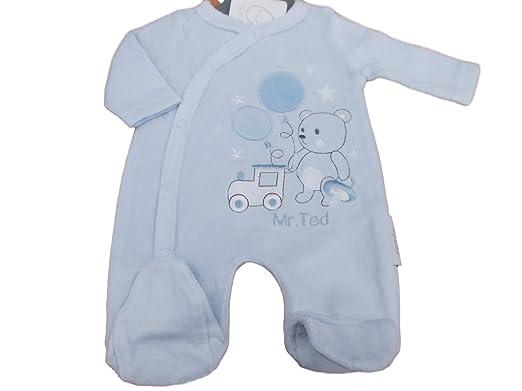 91c4c8a52 Tiny Baby BNWT Premature Preemie Mr Ted Blue Velour Sleepsuit 3-5 or ...