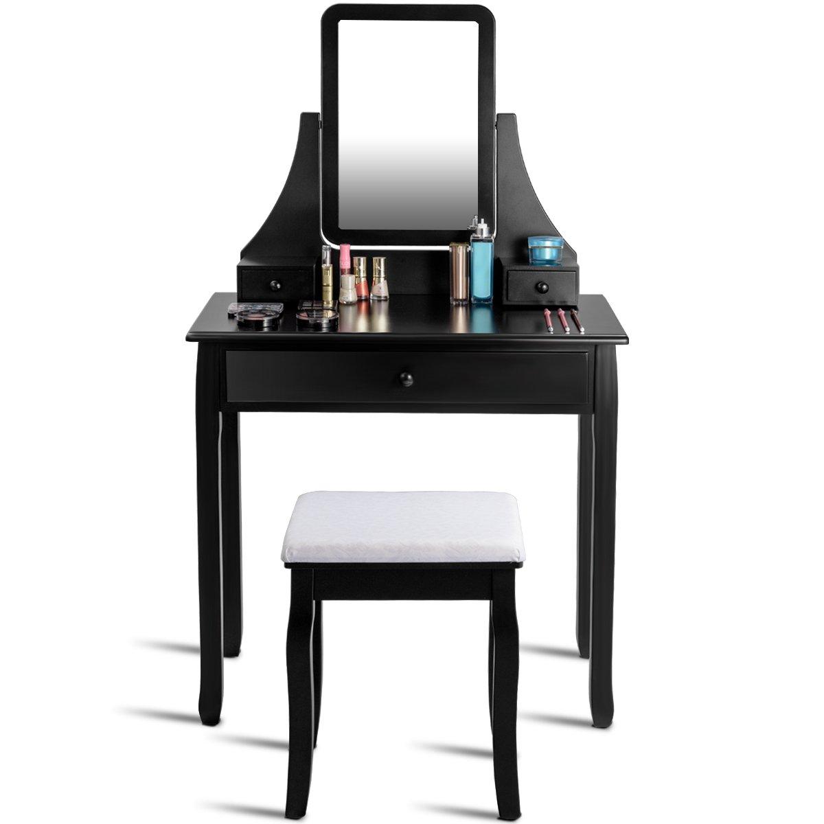 Giantex Bathroom Vanity Dressing Table Set 360 Rotate Mirror Pine Wood Legs Padded Stool Dressing Table Girls Make Up Vanity Set w/Stool (Rectangle Mirror 3 Drawers) (Black)