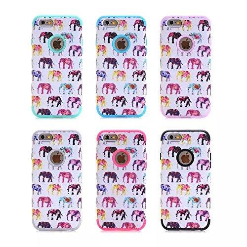 iPhone 6 Case , iPhone 6S Case, Lantier antichoc Case hybride triple couche de protection en plastique dur avec Housse silicone souple pour Apple iPhone 6 / 6S 4,7 pouces (Elephant noir animal)