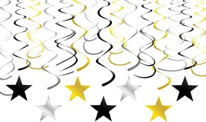 Adeer Gold Silver Black Star Hanging Swirl Decorations Stars Streamers Foil Swirls for Ceiling Decorations Graduation Party Supplies Black and Gold Party Decorations, Pack of 30