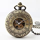 Zxcvlina Classic Smooth Retro Carving Mechanical Pocket Watch Boutique Unisex Pocket Watch Bronze with Chain for Gift Suitable for Gift Giving