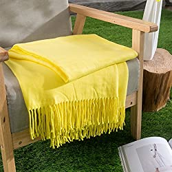 HollyHOME Oversized Throw Blanket 50x60 Inches Nap Casual Decor Warm Soft Microfiber All Season Blanket with Tassels, Lemon Yellow