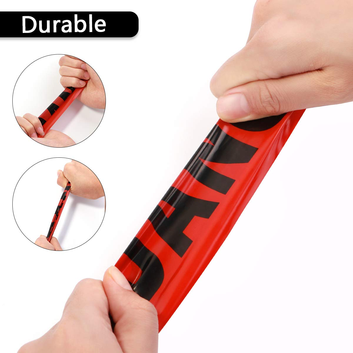 Red UKCOCO 100M Barricade Ribbon Danger Tape Safety Bright Red Warning Tape Portable Roll for Law Enforcement Construction Public Works Safety