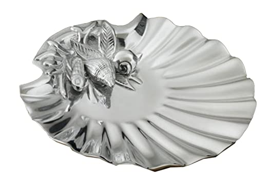 Christmas Tablescape Decor - Silver aluminum scallop seashell serving plate dish tray by India Handicrafts