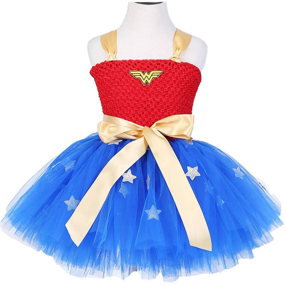 Moon Kitty Girls Captain America Costume Dresses Red