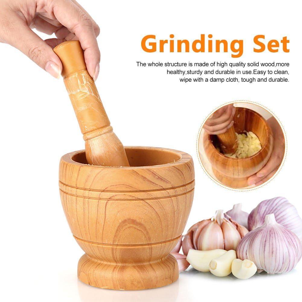 Guoshang Manual Wood Press Ginger Crush Garlic Pounder Mortar and Pestle Garlic Grinder Mortar Masher Set Kitchen Tool Tools Household User-Friendly Mill