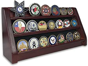 Challenge Coin Display Stand 3 Row Rack Holder(Mahogany Finish)-Military Coin Display Case