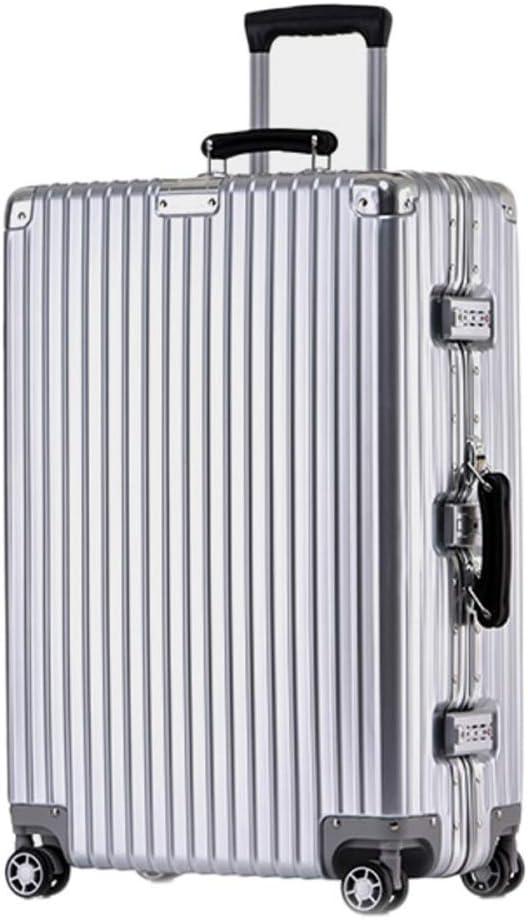 DYW-Maletas Bastidor de Aluminio Resistente a los arañazos Rotación del Equipaje Equipaje de Mano Cinturón Rueda Carro de Viaje 20/24/26 Inch Trolley Case (Color : Silver, tamaño : 20inch)