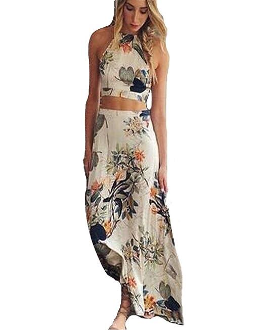 Minetom Damen Sexy Strandkleid Maxikleid Floral Sommerkleid ...
