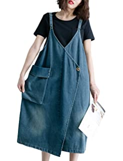 90f0f181d5b Innifer Women s Plus Size Suspender Strap A Line Denim Bib Jean Overall  Dress