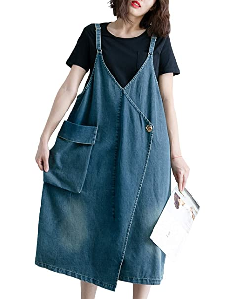 8bd4ccc16c8 Image Unavailable. Image not available for. Color  Innifer Women s  Suspender Strap Big Pocket Denim Bib Jean Pinafore Overall Dress