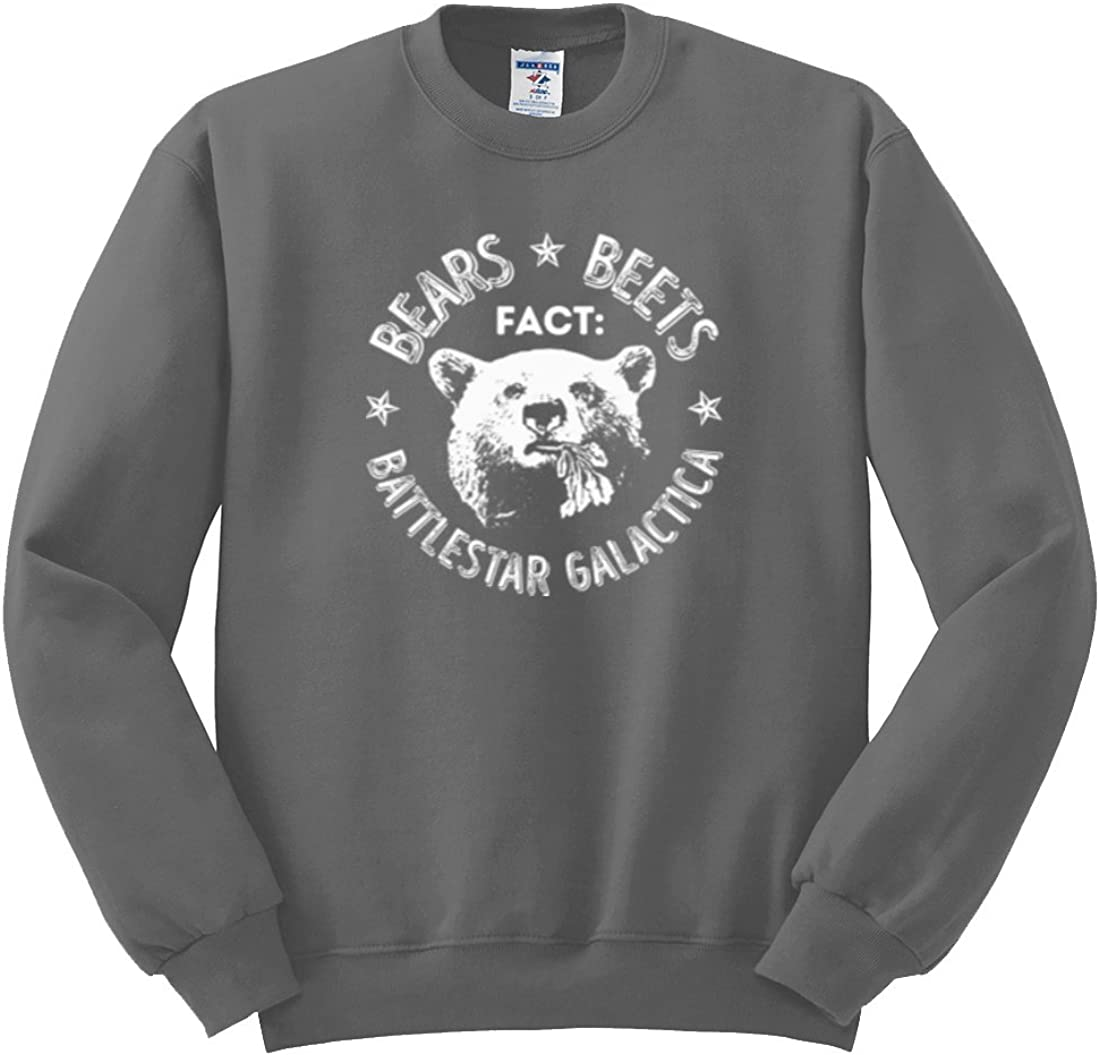 Wild Bobby Office | Fact Bears Beets Battlestar Quote | Mens Pop Culture Crewneck Graphic Sweatshirt
