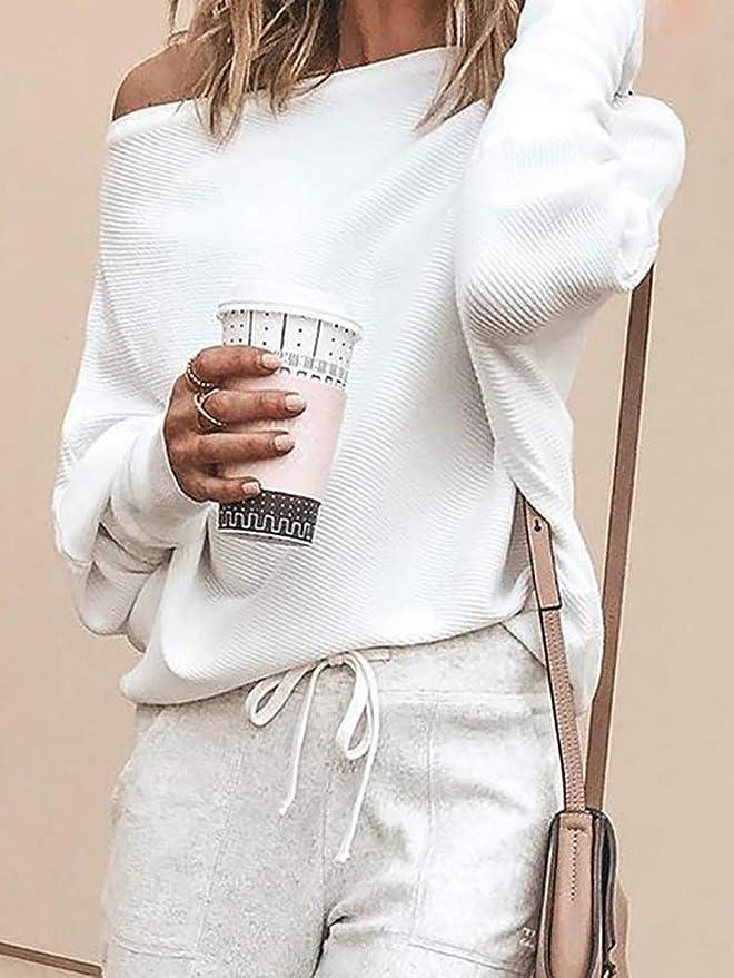 Onsoyours One Shoulder Fledermausärmel Oversize Damska Schulterfreie Strickpullover Mode Sweatshirt: Odzież