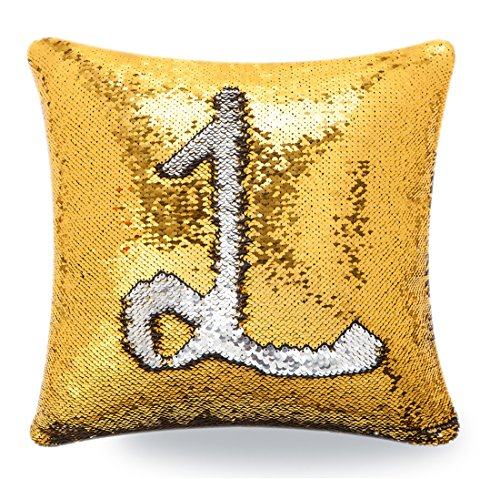 Livedeal Reversible Sequins Mermaid Pillow Cases 4040cm Gold and Silver